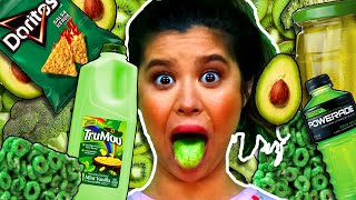 Only Eating GREEN Food for 24 Hours Challenge (Magic Mystery Box)