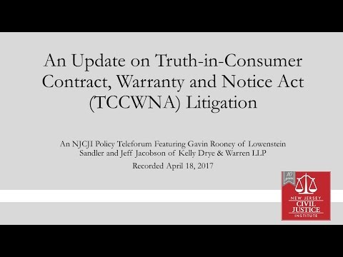An Update on New Jersey's Truth-in-Consumer Contract, Warranty and Notice Act (TCCWNA)