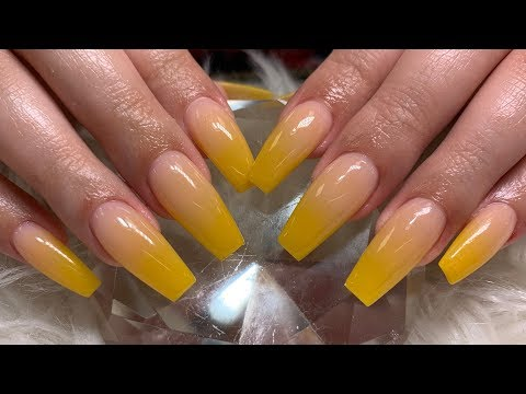 Mustard Yellow Ombré Acrylic Nails , YouTube