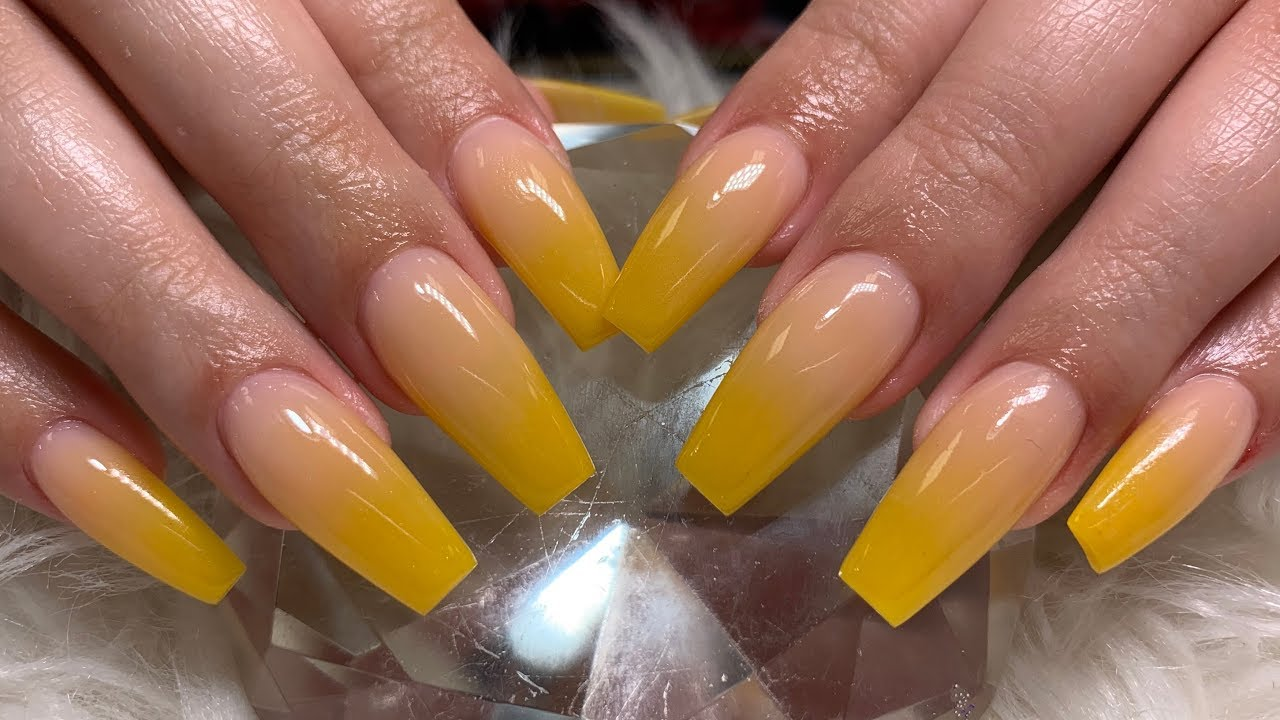 mustard yellow ombr acrylic nails