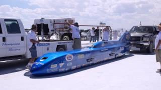 Bonneville Salt Flats Racing Sept 7 2014, blue streamliner start