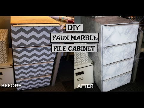 DIY FAUX MARBLE FILE CABINET