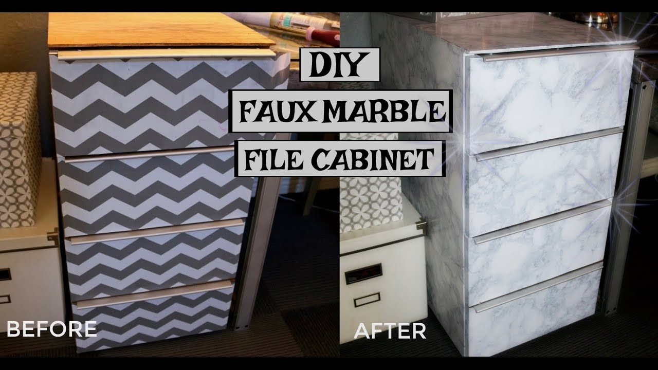 Diy Faux Marble File Cabinet You