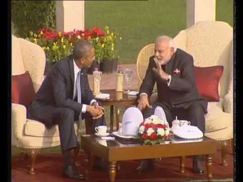 PM Modi and Obama walk the talk at Hydrabad House