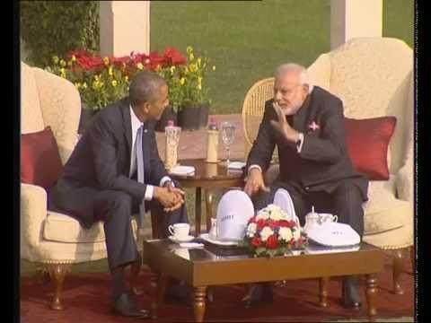 PM Modi and Obama walk the talk at Hydrabad House