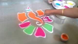 how to make ganesha rangoli in simple way