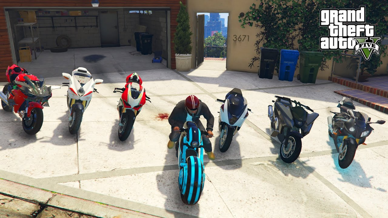 GTA 5 - 🔥 Stealing 2020 Luxury Super Motorcycles with Franklin (Real Life Bikes #01)