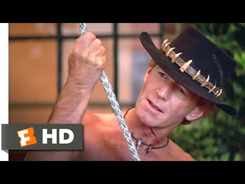 Crocodile Dundee II (1988) - Hung from a Rooftop Scene (3/10) | Movieclips