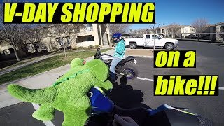 Valentine's Day shopping on a motorcycle!