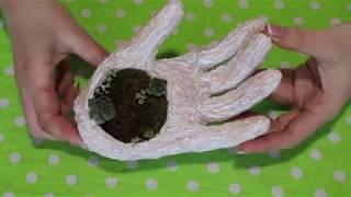 Как сделать цветочный горшок в виде руки своими руками