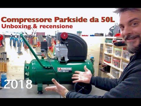 Compressore Parkside LIDL. PKO 500 A1. 50 LITRI. Test Recensione E Unboxing. 50l