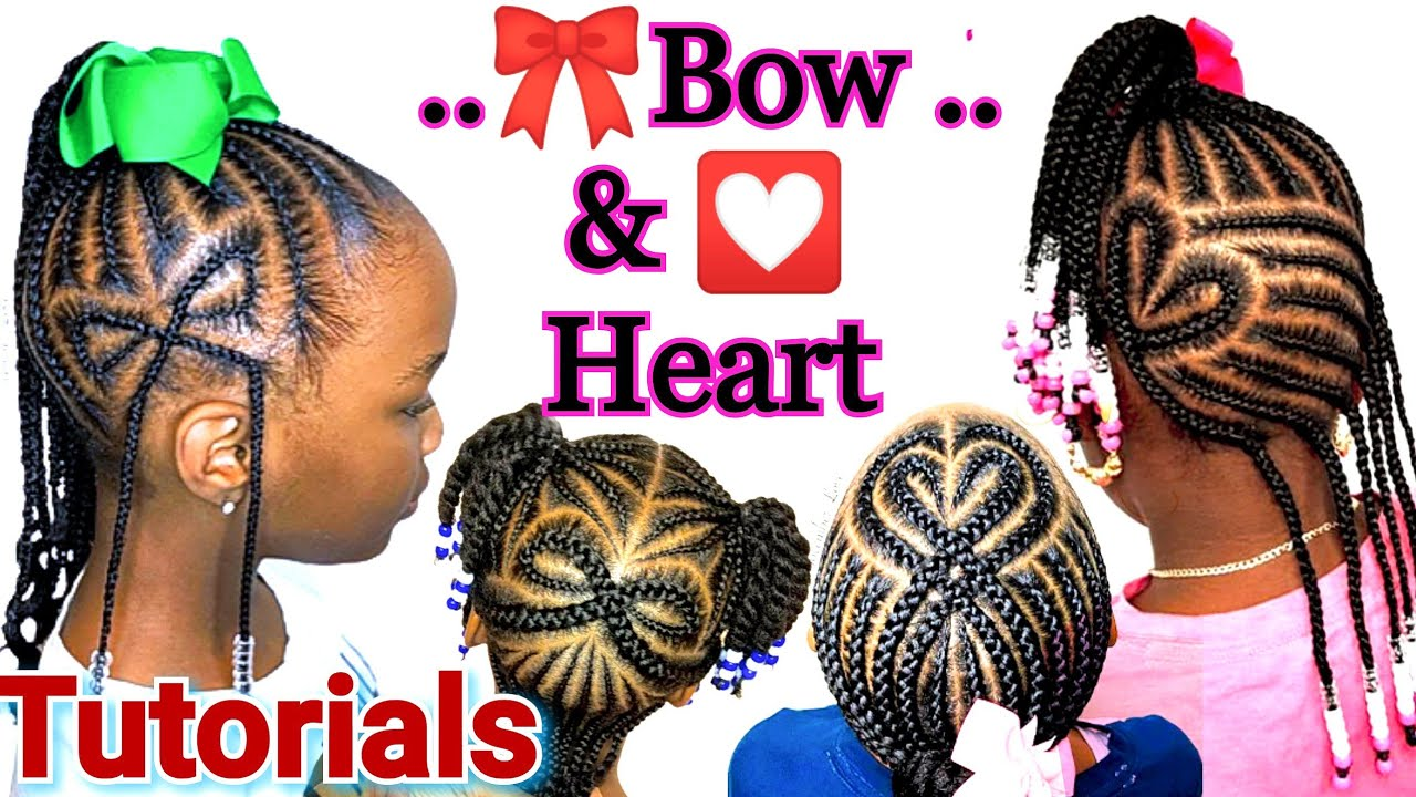 Little Girl Braid Hairstyles Black BRAIDED BOW AND HEART Tutorial.