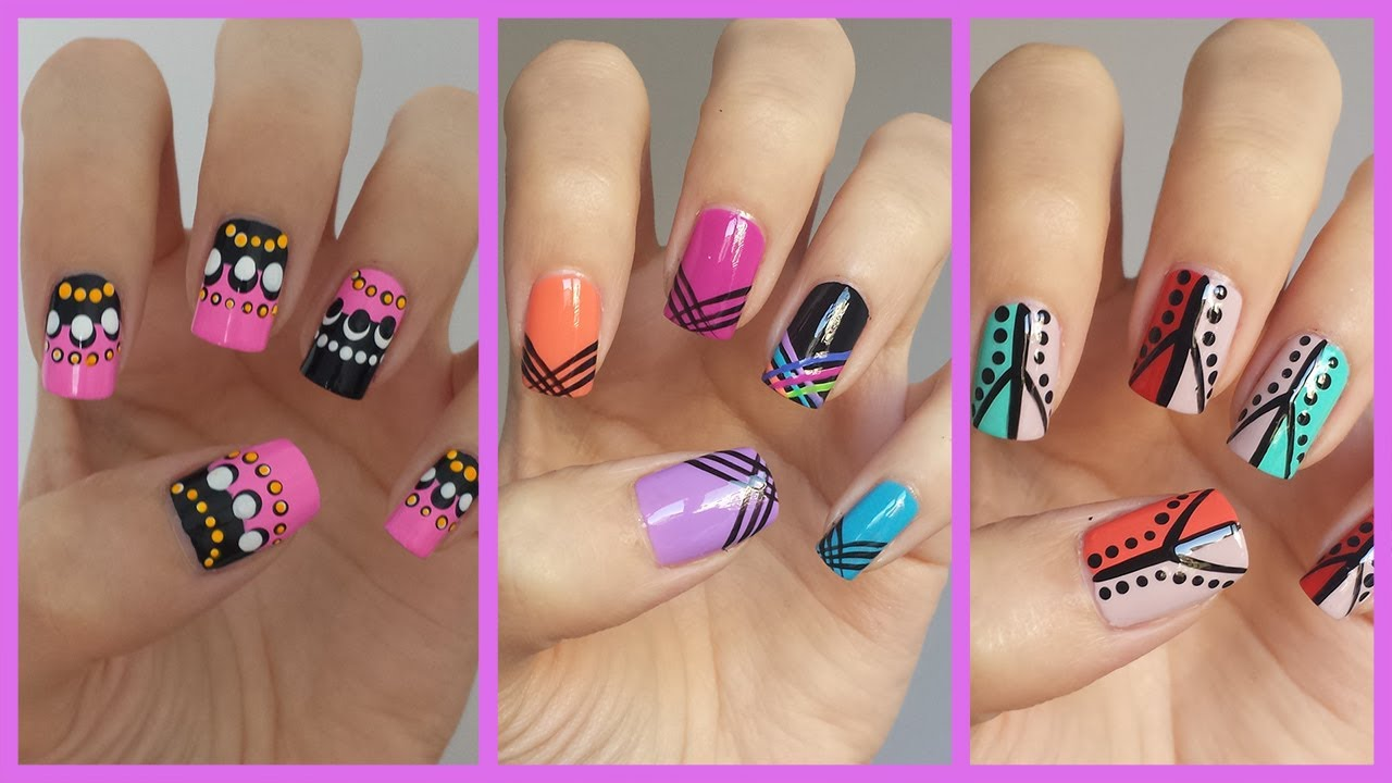 Easy Nail Art For Beginners 12  MissJenFABULOUS  YouTube