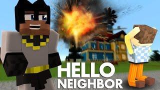 Minecraft Hello Neighbor: KILLING THE NEIGHBOR WITH A ROCKET!
