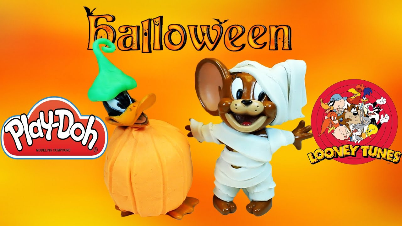 play doh halloween looney tunes - daffy duck and jerry halloween