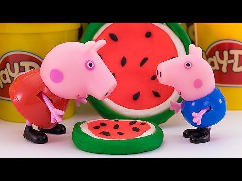 Свинка Пеппа и Джордж лепят печенье и арбузные леденцы из Плей До Мультик из игрушек - Серия 96