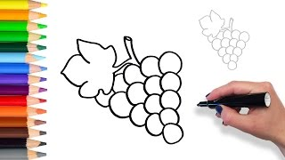Learn How to Draw Grapes | Teach Drawing for Kids and Toddlers Coloring Page Video - Stafaband