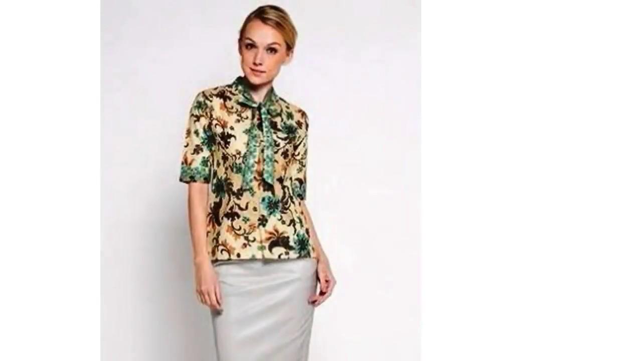 Desain Baju Batik Lengan Pendek Untuk Wanita - YouTube