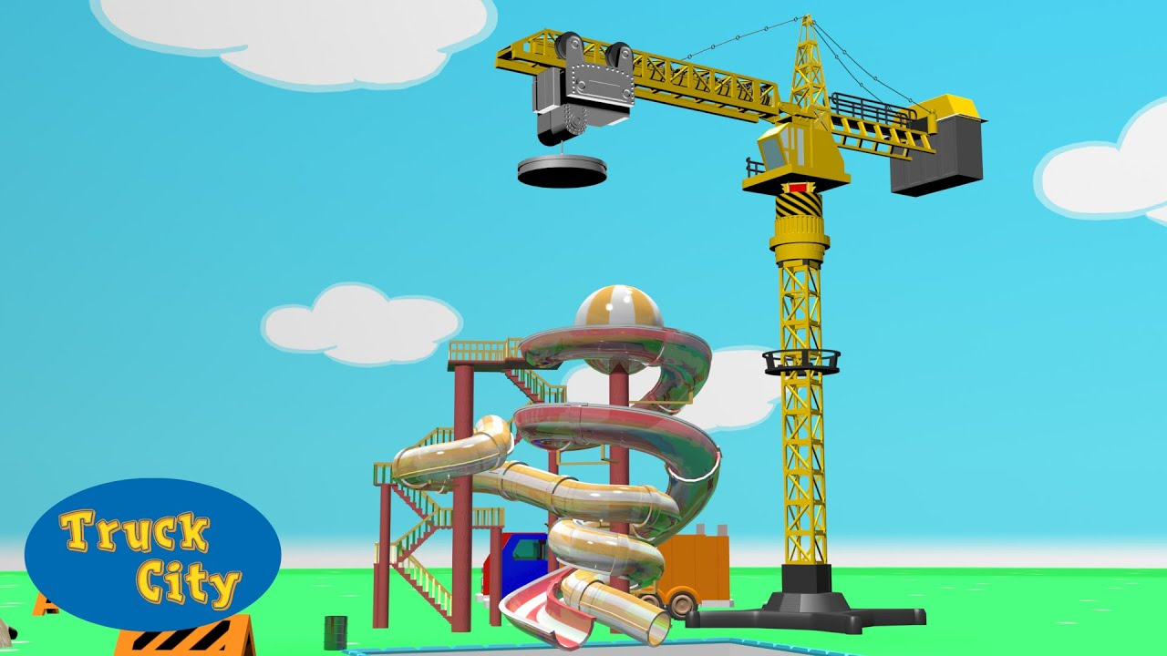 Grue construction piscine et toboggan g ant truck city for Construction piscine desjoyaux youtube