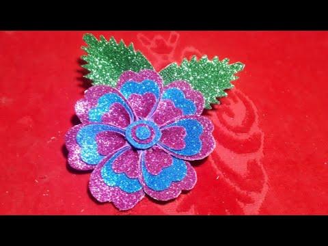 Glitter foam sheet flowers making ka Tarika sikhaye chamkile paper /mix channel.