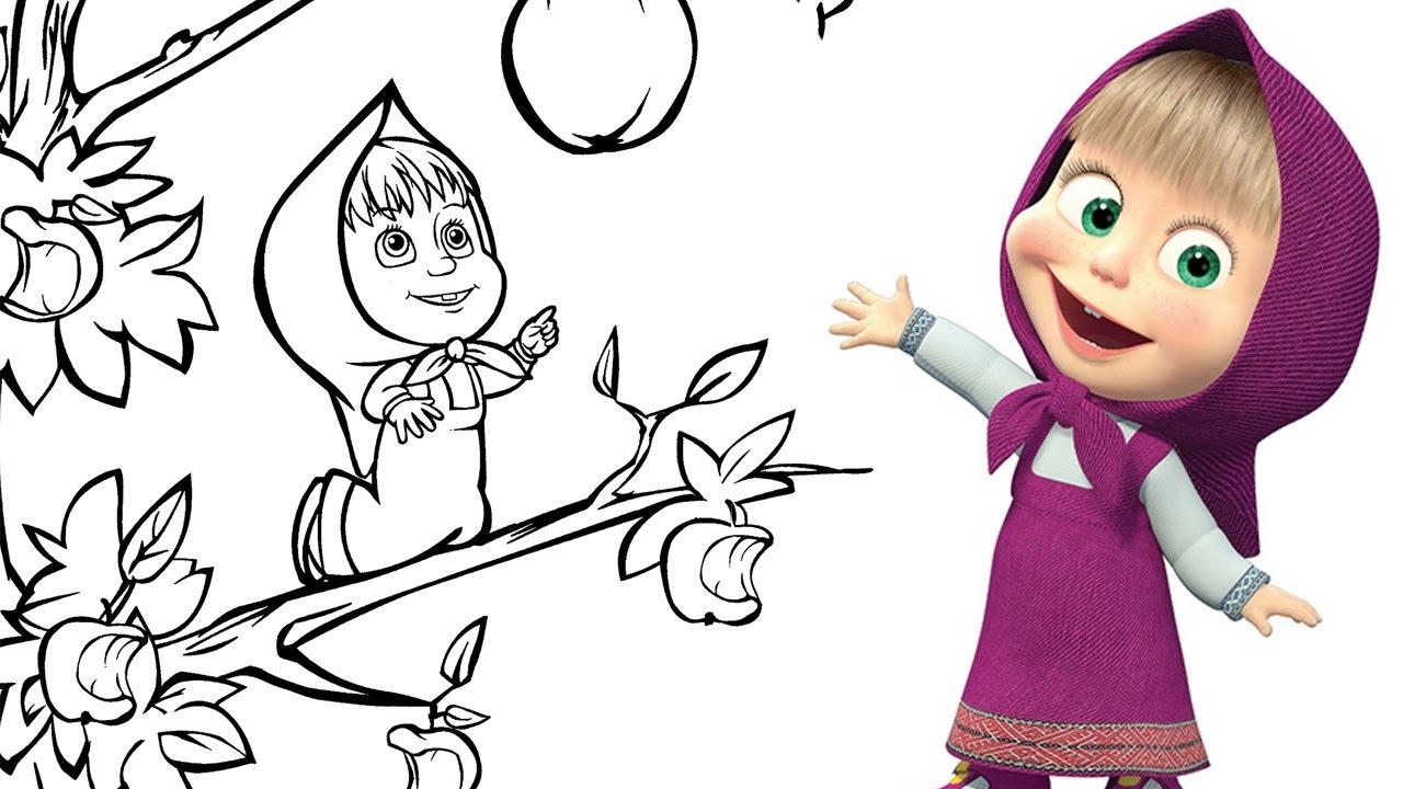 Dibujos Para Colorear De Macha Y El Oso: Masha Y El Oso En Español, Masha Y El Oso Colorear A Masha