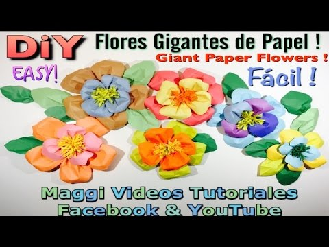 Como hacer flores gigantes de papel para fiestas youtube - Como se hacen rosas de papel ...