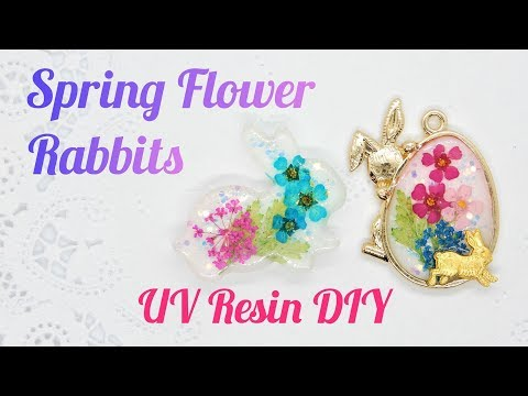 UV Resin DIY Spring Flower Rabbits