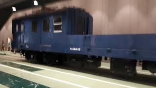京都鉄道博物館でクモル145系配給車の車両紹介シーン(2020年1月25日土曜日)携帯電話で撮影