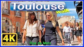 """【4K】WALK TOULOUSE France Rue de METZ """"The PINK City"""" virtual walk"""