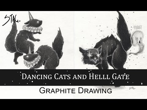Dancing Cats and Hell Gate graphite sketches
