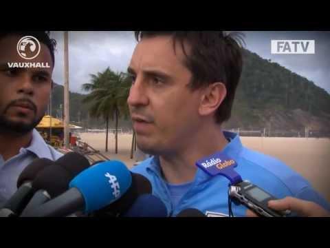 Gary Neville interviewed on Copacabana Beach ahead of England vs Brazil