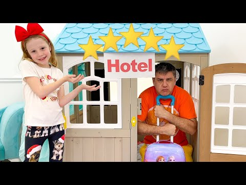 Nastya Pretends to Play with dad in the Hotel