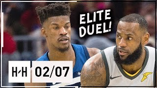 LeBron James vs Jimmy Butler EPIC Duel Highlights 2018.02.07 Wolves vs Cavaliers - MUST SEE