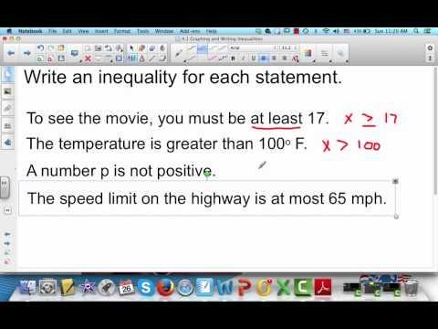 Writing Inequalities