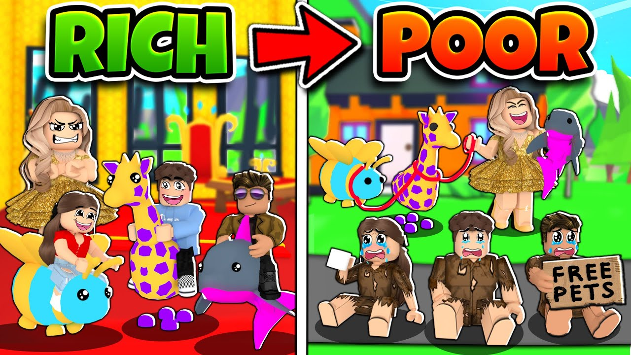 RICH To POOR! *EVIL* Step Mom STOLE OUR MEGA NEON PETS! (Roblox Adopt Me)