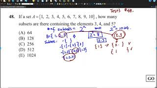 Dr. John Chung's SAT II Math 2 Test 3 #48 , Number of subsets containing some elements.