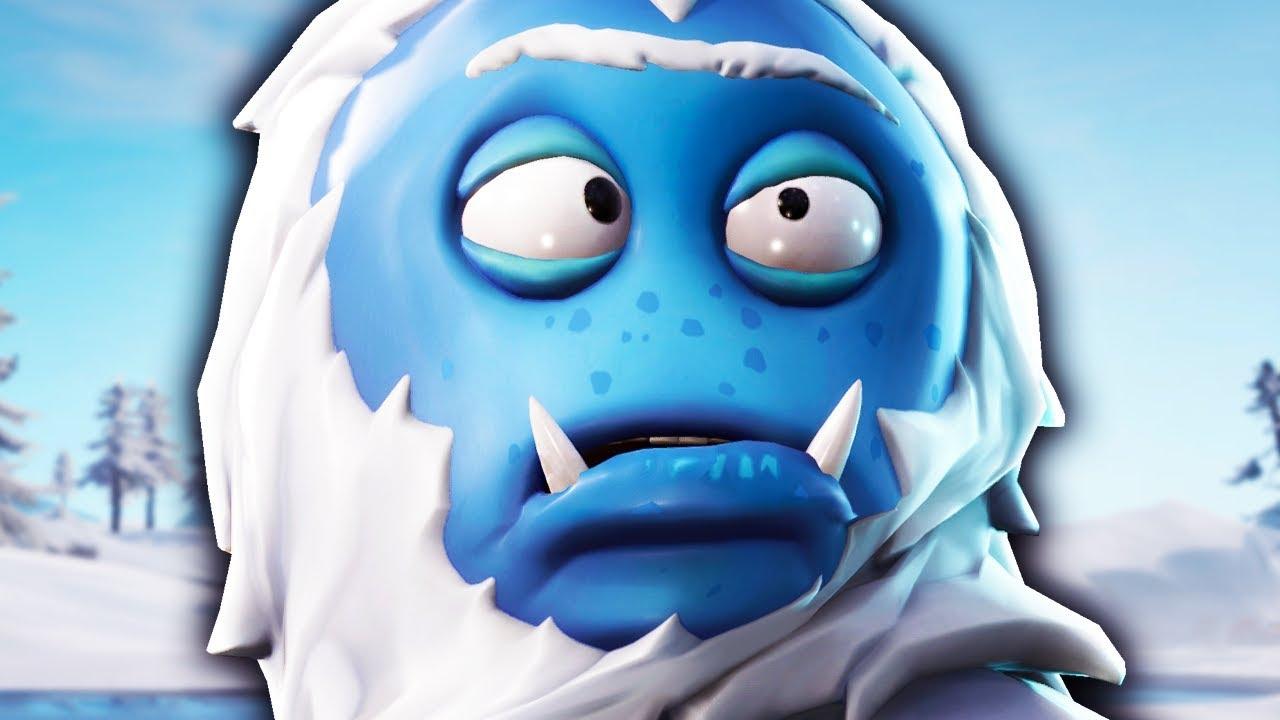 Blue Hairy Cross Eyed Yeti Skin Trog Fortnite Youtube