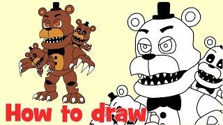 How to draw Adventure Nightmare Freddy FNaF World FNaF4 Animatronics
