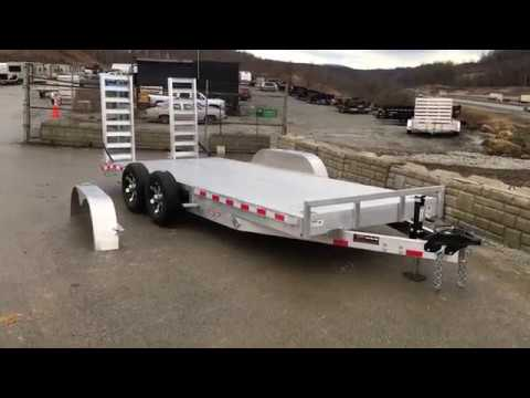 H&H HDA Aluminum Lowboy Equipment Trailer 7x18' 9990# GVW Stand Up Ramps Extruded Floor