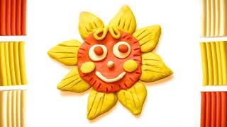 Веселое солнышко из пластилина. Урок лепки для детей.