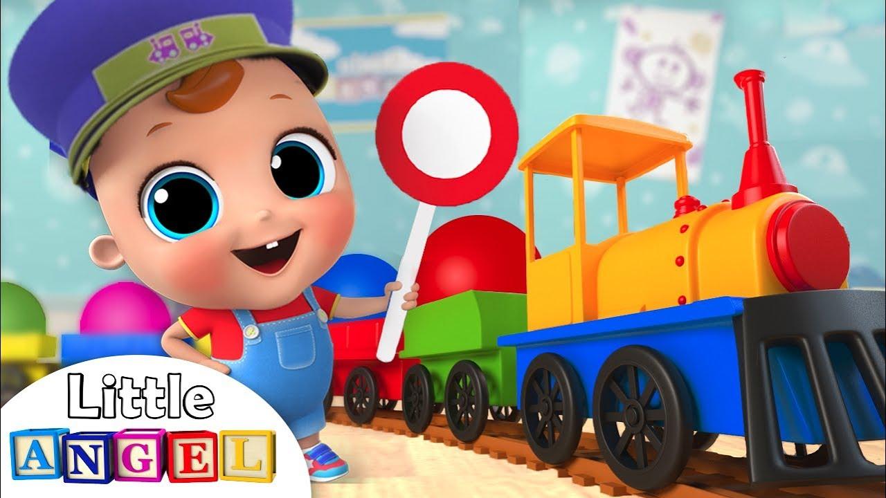 Color Train Song | Little Angel Nursery Rhymes & Kids Songs