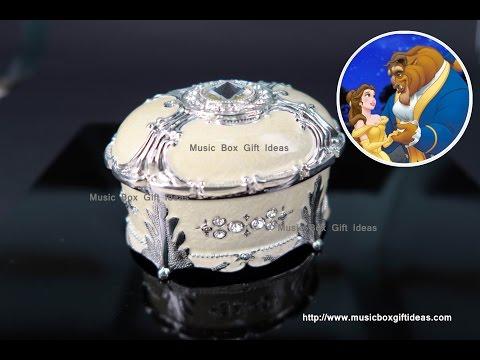 Yellow Oval Shaped Sankyo Wind-up Jewelry Music Box Beauty and The Beast