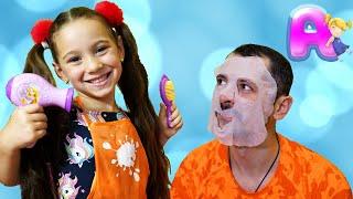 Anna plays in a beauty salon
