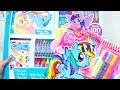 MLP Coloring Toys ! My Little Pony GIANT Activity Kit With Colors, Stickers, Paints, and More