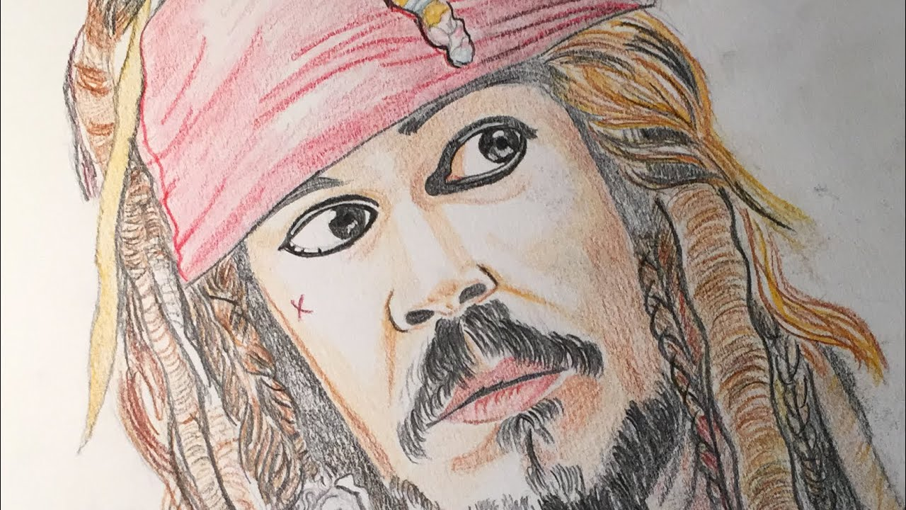 Color sketch of johnny depp as jack sparrow pirates of the caribbean