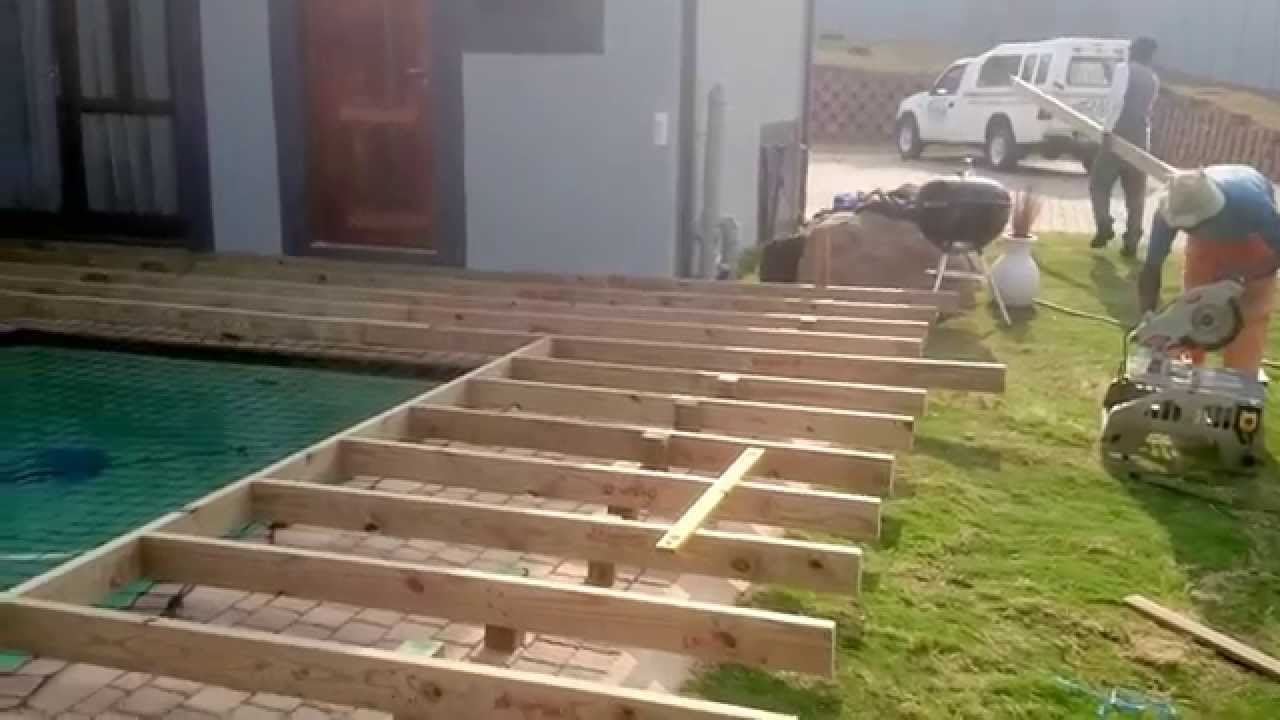Wooden pool deck in hillcrest durban youtube - How to build a swimming pool out of wood ...