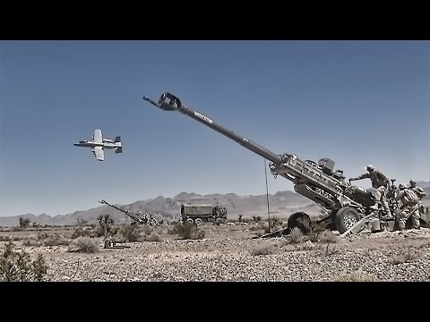 U.S. Army Artillery With A-10 Flyover