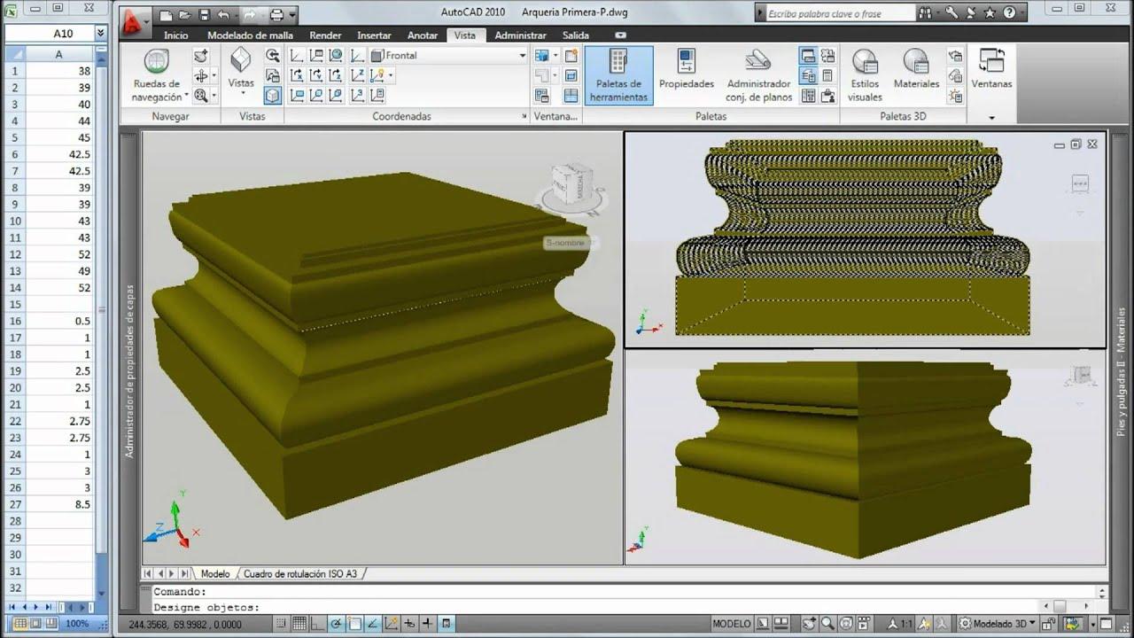 Autocad 3d moldura de pilar cuadrado2 youtube - Molduras para ventanas exteriores ...