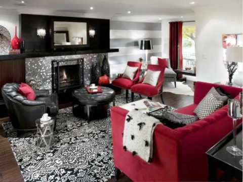 Etonnant Red White And Black Living Room Ideas