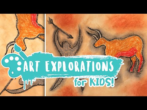 Kids Art Lesson Cave Painting 🎨🖐🏹 Video Lesson 13 Spring Semester